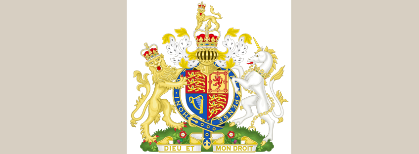 The coat of arms nowadays with the lion and the unicorn